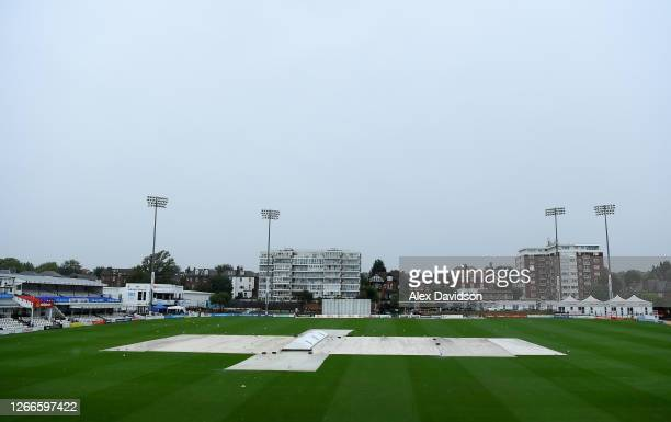 General view of the covers as play is delayed due to rain on Day 2 of The Bob Willis Trophy match between Sussex and Essex at The 1st Central County...