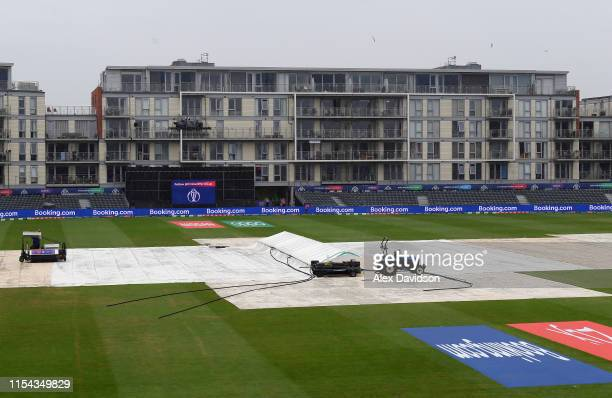 A general view of the covers as play is delayed during the Group Stage match of the ICC Cricket World Cup 2019 between Pakistan and Sri Lanka at...