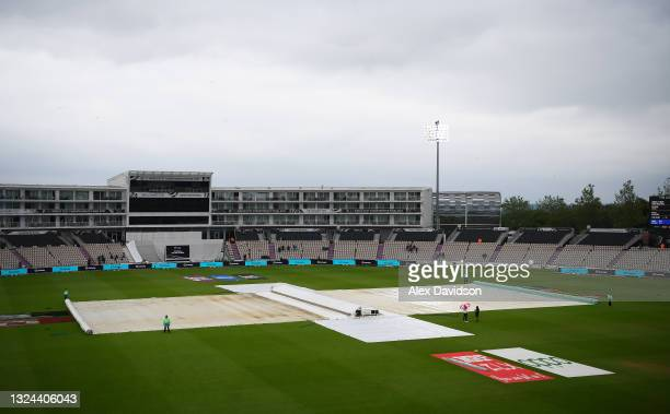 General view of the covers as play is delayed on Day 2 of the ICC World Test Championship Final between India and New Zealand at The Hampshire Bowl...