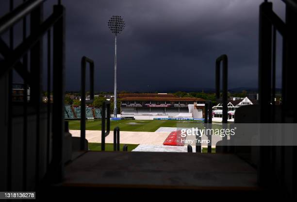 General view of the covers as rain delays play during Day Three of the LV= Insurance County Championship match between Somerset and Surrey at The...