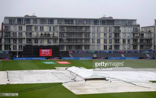 A general view of the covers as the match is abandoned during the Group Stage match of the ICC Cricket World Cup 2019 between Bangladesh and Sri...