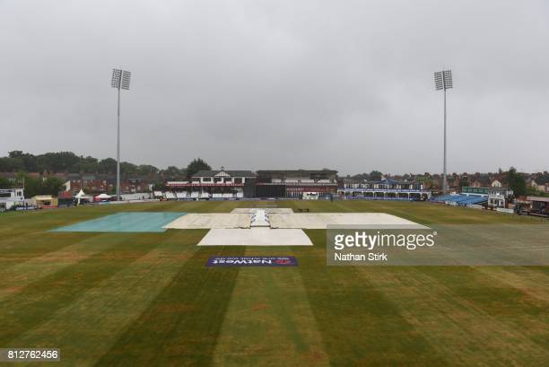 General view of the covers on the County Ground before the NatWest T20 Blast match against Northamptonshire Steelbacks and Yorkshire Vikings on July...
