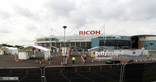 General view of the Covid-19 testing centre at the Ricoh Arena on May 01, 2020 in Coventry, England. British Prime Minister Boris Johnson, who...