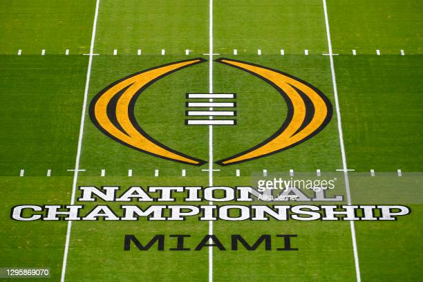 General view of the CPF National Championship midfield logo before the College Football Playoff National Championship football game between the...