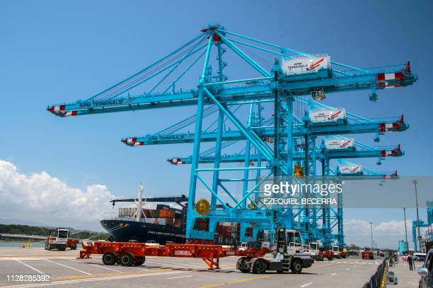 General view of the cranes at the new APM Containers Terminal in the port of Moin in Limon Costa Rica on February 28 2019 Costa Rica inaugurated a...