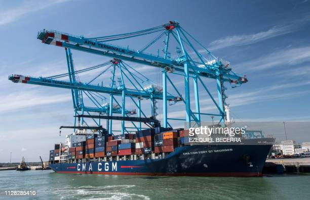 TOPSHOT General view of the cranes at the new APM Containers Terminal in the port of Moin in Limon Costa Rica on February 28 2019 Costa Rica...