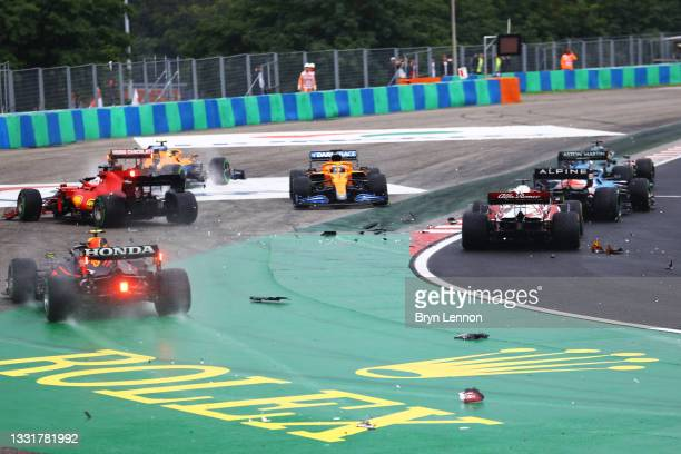 General view of the crash at the start during the F1 Grand Prix of Hungary at Hungaroring on August 01, 2021 in Budapest, Hungary.
