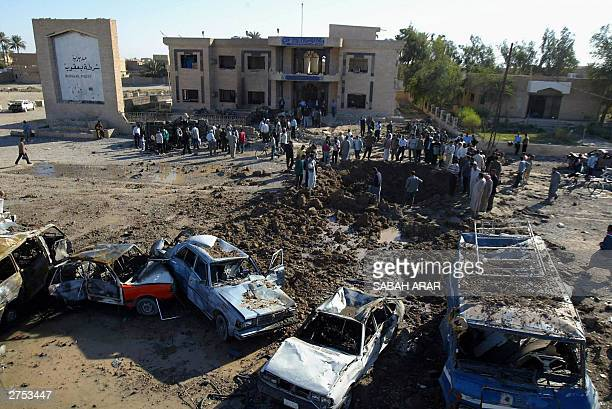 General view of the crater caused by the explosion of a bomb attack outside the police station of Baquba 22 November 2003 60 kms north of Baghdad The...