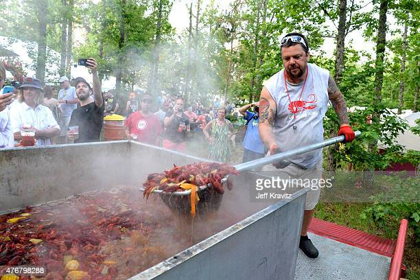 General view of the crawfish boil during Day 1 of the 2015 Bonnaroo Arts And Music Festival on June 11 2015 in Manchester Tennessee