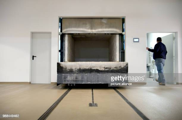 A general view of the cremation furnace at the nationwide first animal crematory which allows the cremation of horses in Schwaebisch Hall Germany 4...