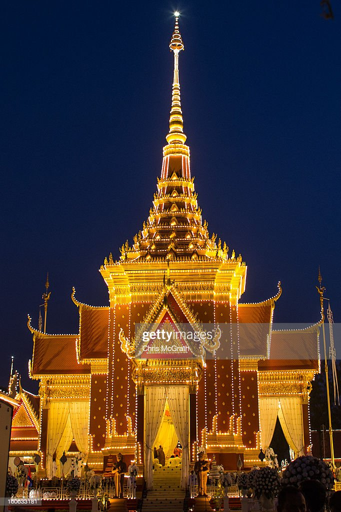 A general view of the cremation site as the cremation ceremony takes place on February 4, 2013 in Phnom Penh, Cambodia. The former King's cremation ceremony comes on the fourth day of a seven day royal funeral ceremony and nearly four months since his death in Beijing last October. Foreign leaders from 16 countries attended the cremation ceremony.