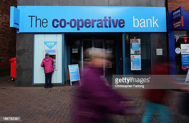 A general view of the Crewe branch of the Cooperative Bank on November 4 2013 in Crewe United Kingdom The Cooperative Bank has announced plans to cut...