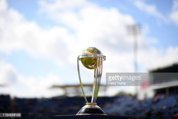 General view of the Cricket World Cup Trophy during the Group Stage match of the ICC Cricket World Cup 2019 between England and Bangladesh at Cardiff...