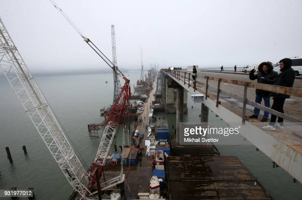A general view of the Crimean bridge which is being built to connect the Krasnodar region of Russia and Crimean Peninsula across the Kerch Strait on...