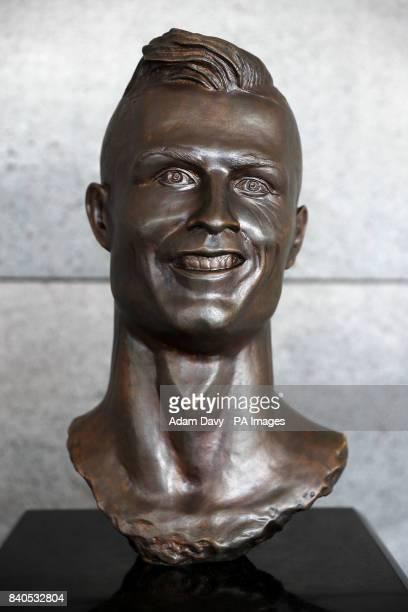 A general view of the Cristiano Ronaldo statue at the Cristiano Ronaldo International Airport in Madeira