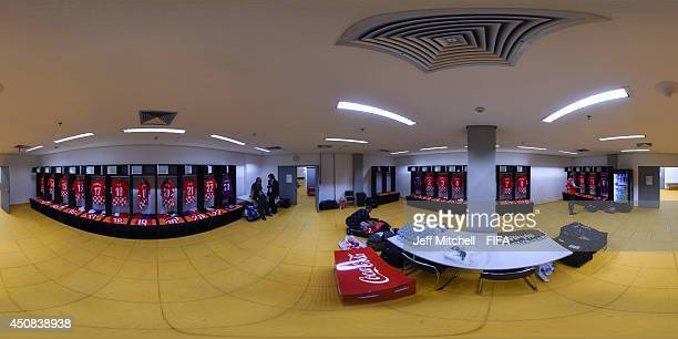 General view of the Croatian dressing room ahead of the 2014 FIFA World Cup Brazil Group A match between Cameroon v Croatia at Arena Amazonia on June...