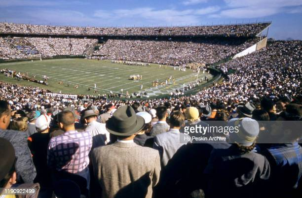 General view of the crowd and field during the 1956 Sugar Bowl Game between the Georgia Tech Yellow Jackets and Pittsburgh Panthers on Jauary 2, 1956...