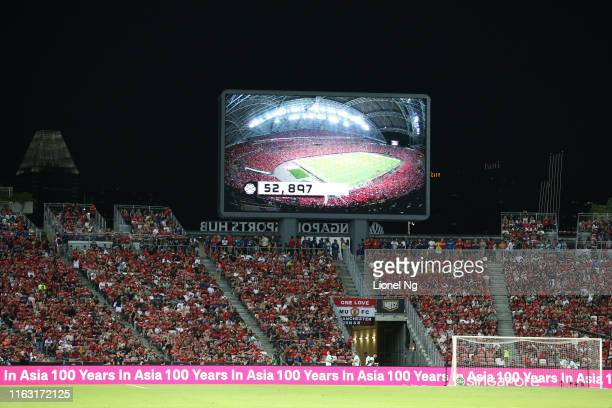 General view of the crowd and match attendance on the big screen during the 2019 International Champions Cup match between Manchester United and FC...