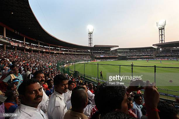 A general view of the crowd and stadium in the 2011 ICC World Cup match between India and England at M Chinnaswamy Stadium on February 27 2011 in...