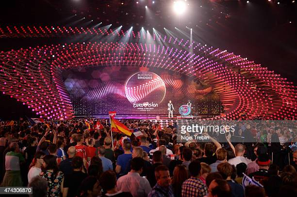 General view of the crowd and stage during the second Semi Final of the Eurovision Song Contest 2015 on May 21 2015 in Vienna Austria The final of...