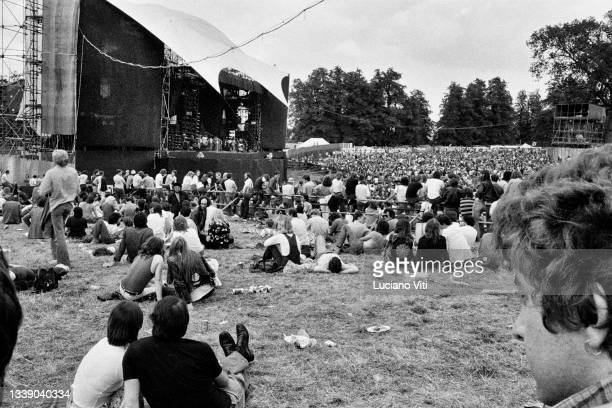 General view of the crowd and the stage before Led Zeppelin play at Knebworth, United Kingdom, 11th August 1979.