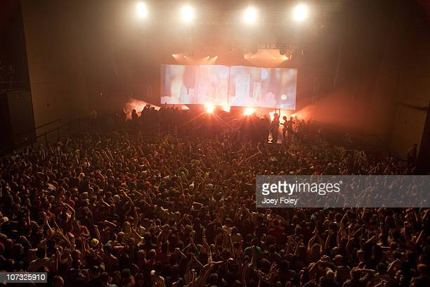 A general view of the crowd as Gregg Gillis of Girl Talk performs at a soldout show in his hometown on opening night of the new venue Stage AE on...