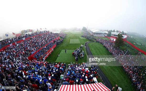 A general view of the crowd as Justin Rose of Europe hits off the first tee during morning foursome matches of the 2016 Ryder Cup at Hazeltine...