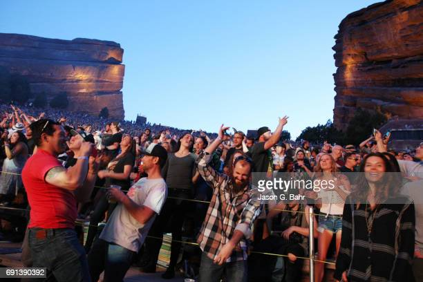 General view of the crowd as Rufus du sol performs at Red Rocks Amphitheatre on June 1 2017 in Morrison Colorado
