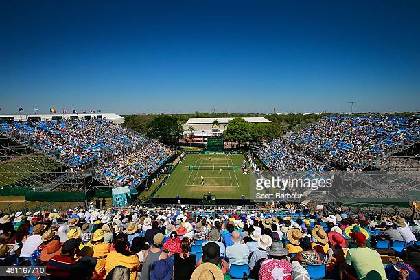 A general view of the crowd as Sam Groth and Lleyton Hewitt of Australia play Andrey Golubev and Aleksandr Nedovyesov of Kazakhstan in the doubles...