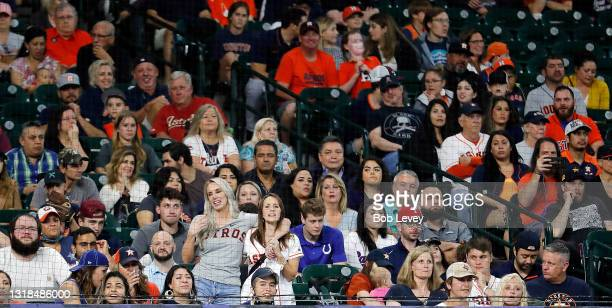 General view of the crowd as the Houston Astros play the Texas Rangers at Minute Maid Park on May 16, 2021 in Houston, Texas.