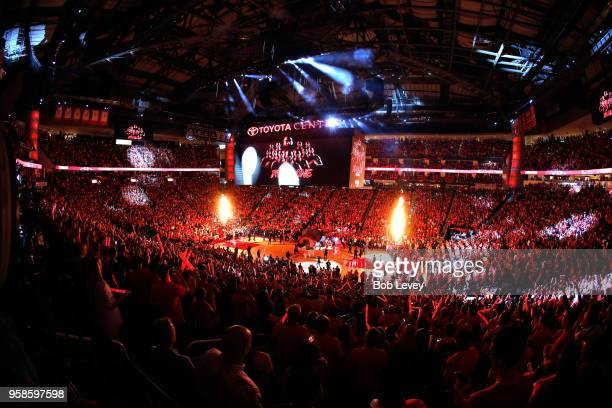 A general view of the crowd as the Houston Rockets are introduced before Game One against the Golden State Warriors of the Western Conference Finals...
