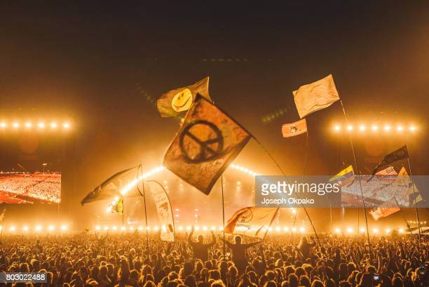 General view of the crowd as The Weeknd performs on stage on Day 5 of Roskilde Festival on June 28 2017 in Roskilde Denmark