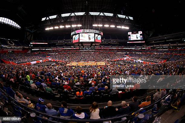 A general view of the crowd as the Wisconsin Badgers practice for the NCAA Men's Final Four at Lucas Oil Stadium on April 3 2015 in Indianapolis...