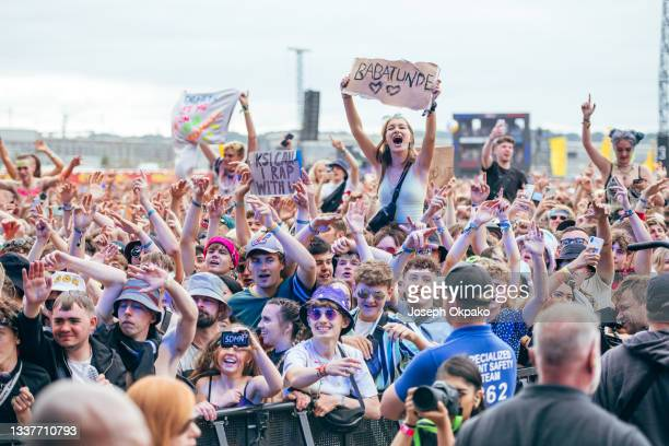 General view of the crowd as they watch KSI perform on Main Stage East during Reading Festival 2021 at Richfield Avenue on August 29, 2021 in...