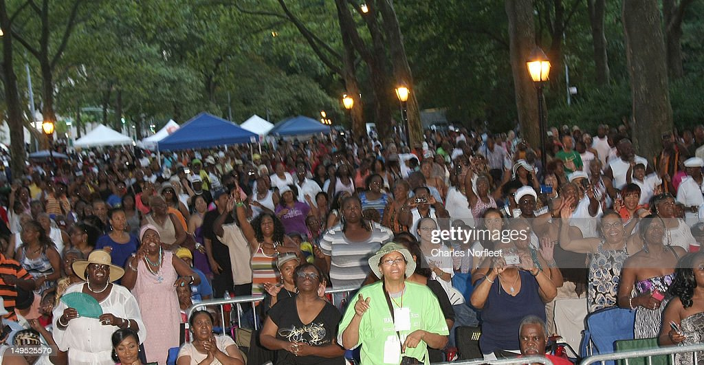 A general view of the crowd at Harlem Week's 38th Anniversary Celebration at Ulysses S. Grant National Memorial Park on July 29, 2012 in New York City.