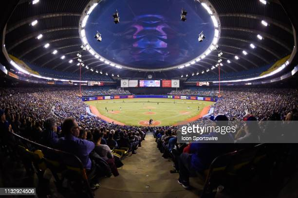 General view of the crowd at Montreal Olympic Stadium during the Milwaukee Brewers versus the Toronto Blue Jays spring training game on March 25 at...