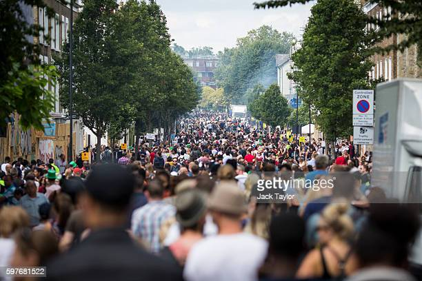 A general view of the crowd at Notting Hill Carnival on August 29 2016 in London England The Notting Hill Carnival which has taken place annually...