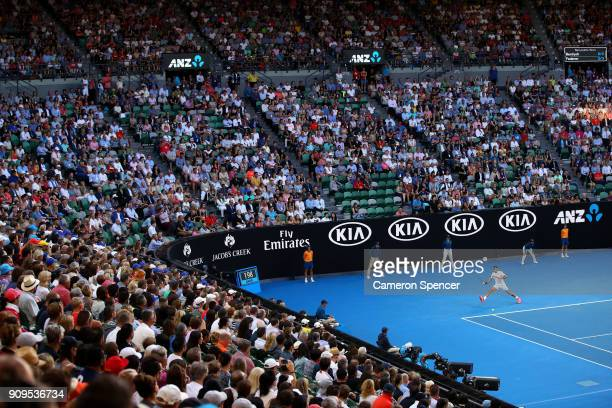A general view of the crowd at Rod Laver Arena during the quarterfinal match between Roger Federer of Switzerland and Tomas Berdych of the Czech...