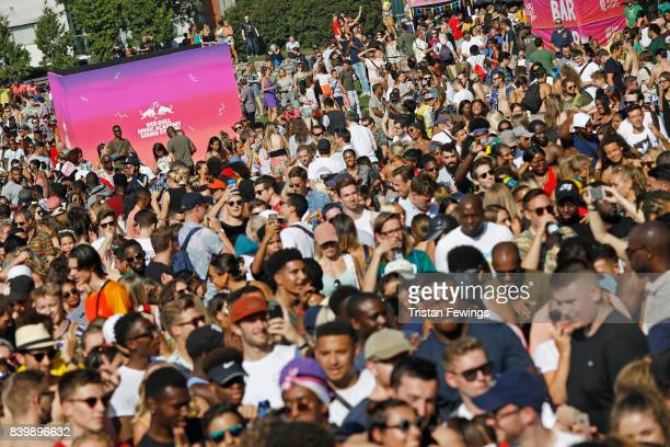 General view of the crowd at the 'Red Bull Music Academy Soundsystem' at Notting Hill Carnival 2017 on August 27 2017 in London England