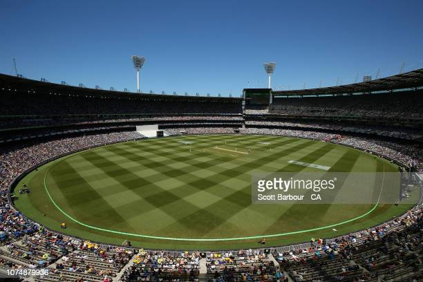 A general view of the crowd during day one of the Third Test match in the series between Australia and India at Melbourne Cricket Ground on December...