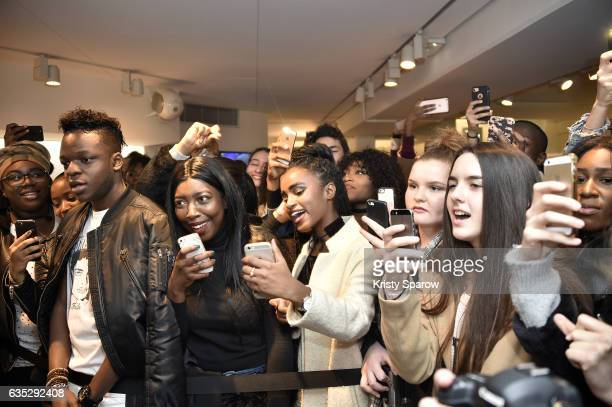 A general view of the crowd during Justine Skye's performance during the Boy Meets Girl x Care Bears Collection at Colette on February 14 2017 in...