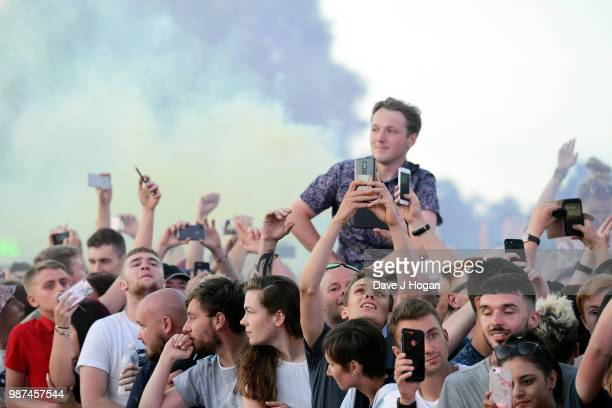A general view of the crowd during Liam Gallagher at Finsbury Park on June 29 2018 in London England