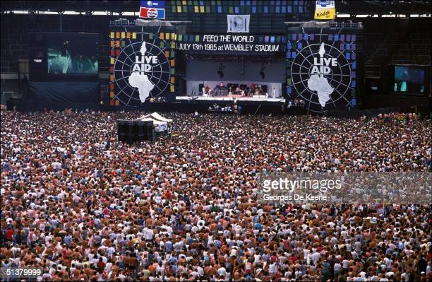 General view of the crowd during Live Aid in Wembley stadium 13 July 1985.