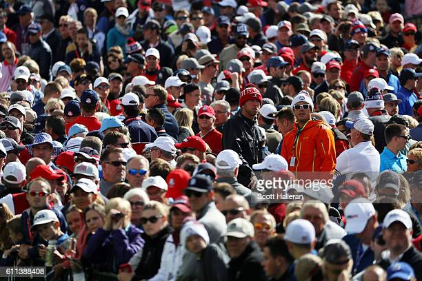 General view of the crowd during practice prior to the 2016 Ryder Cup at Hazeltine National Golf Club on September 29, 2016 in Chaska, Minnesota.