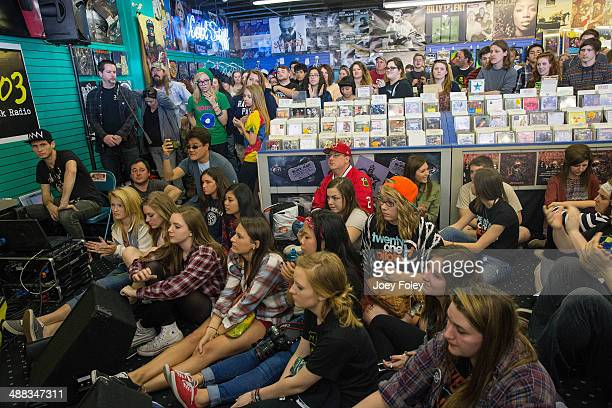 A general view of the crowd during Record Store Day 2014 at Karma Records on April 19 2014 in Indianapolis Indiana