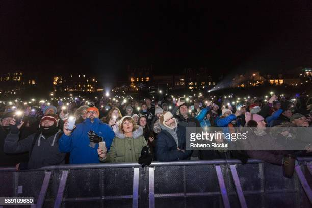 General view of the crowd during Sleep In The Park a Mass Sleepout organised by Scottish social enterprise Social Bite to end homelessness in...