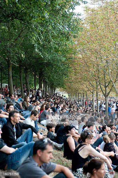 A general view of the crowd during the 10th annual Rock En Seine Festival at the Domaine National de SaintCloud park on August 25 2012 in Paris France