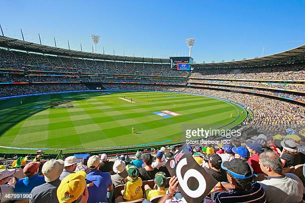 A general view of the crowd during the 2015 ICC Cricket World Cup final match between Australia and New Zealand at the Melbourne Cricket Ground on...