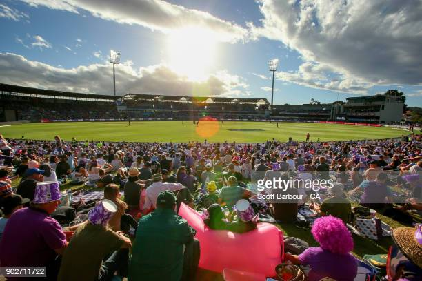 A general view of the crowd during the Big Bash League match between the Hobart Hurricanes and the Sydney Sixers at Blundstone Arena on January 8...