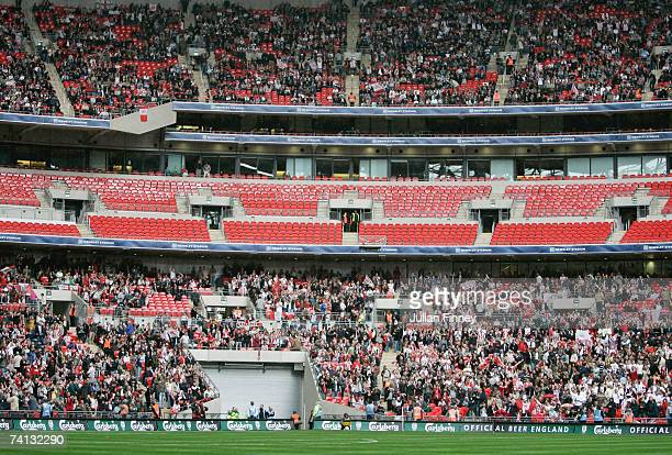 General view of the crowd during the FA Trophy Final match between Kidderminster Harriers and Stevenage Borough at Wembley Stadium on May 12, 2007 in...